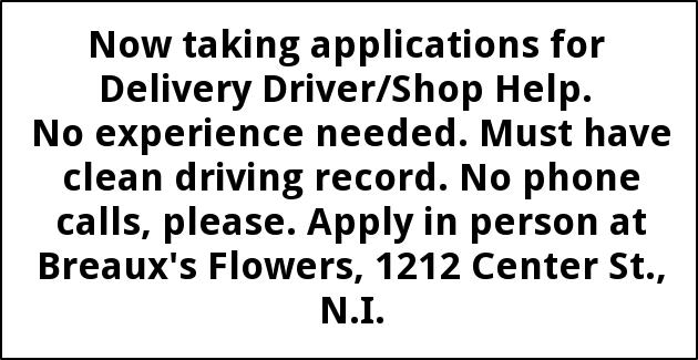 Delivery Driver/Shop Help