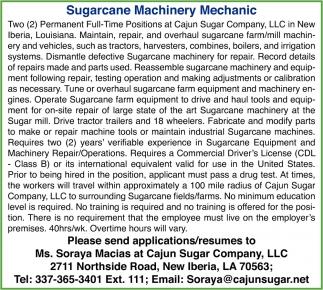 Surgarcane Machinery Mechanic