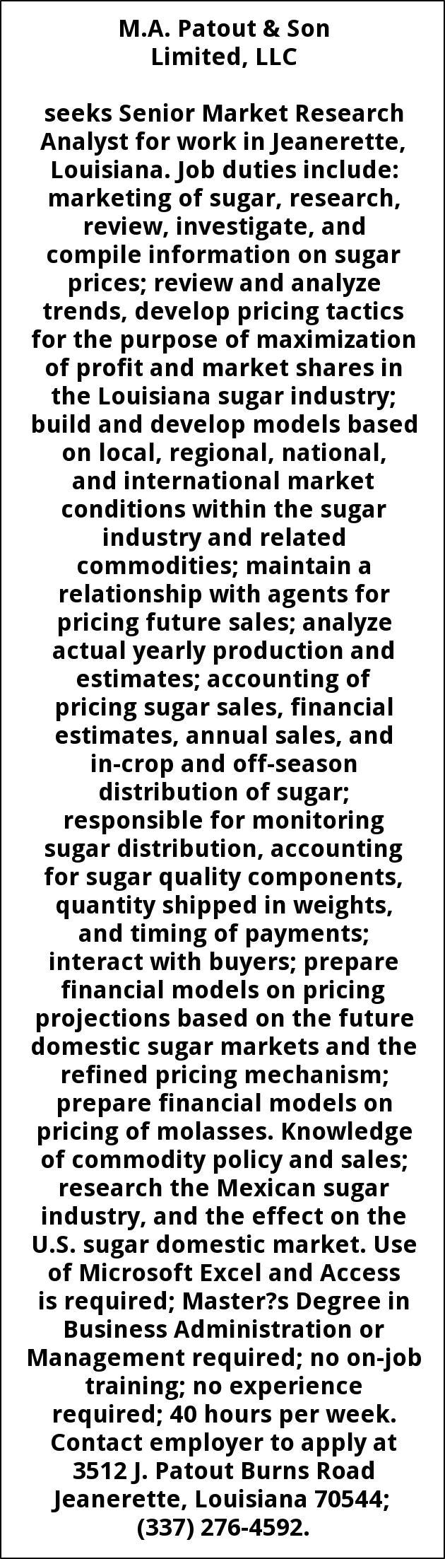 Senior Market Research Analyst